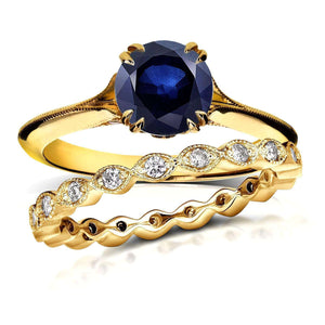 Vintage Floral Blue Sapphire Bridal Set 1 2/5 CTW in 14k Yellow Gold