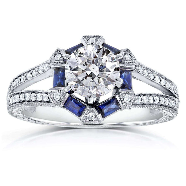 Kobelli Art Deco Blue Sapphire and Diamond Engagement Ring 1 5/8 CTW 14k White Gold