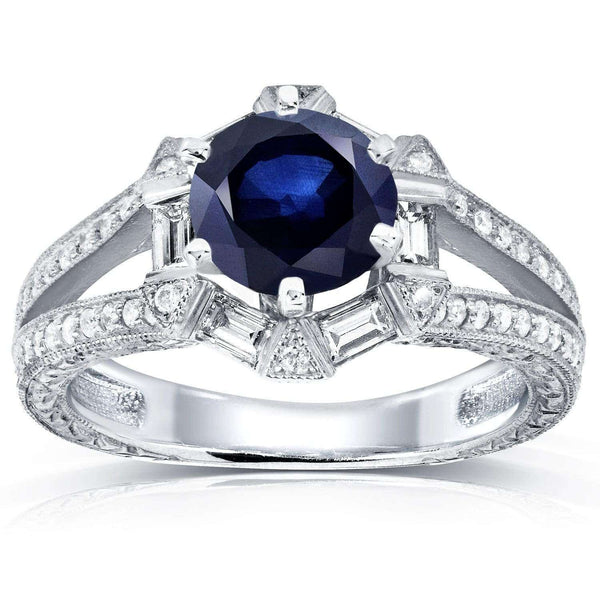 Kobelli Art Deco Blue Sapphire and Diamond Engagement Ring 1 3/5 CTW 14k White Gold