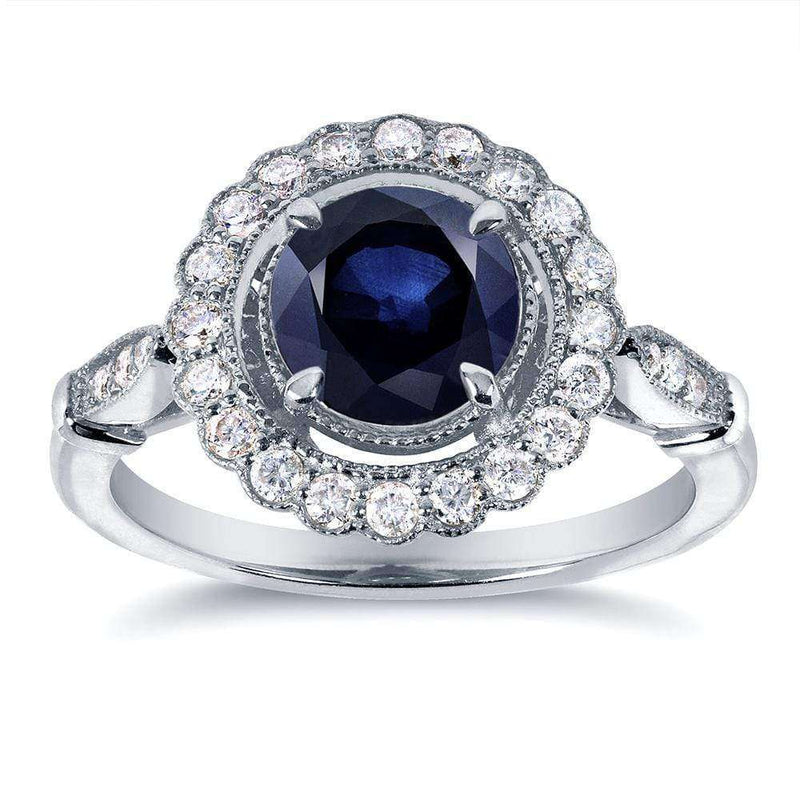 Kobelli Antique Sapphire and Diamond Floral Ring 1 1/3 CTW in 14k White Gold