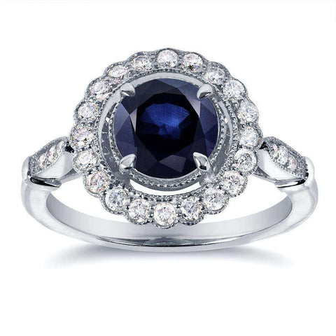 floral antique sapphire engagement ring with halo diamonds