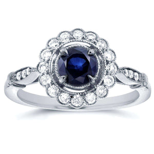 Antique Floral Sapphire and Diamond Engagement Ring 4/5 Carat (ctw) in 14k White Gold