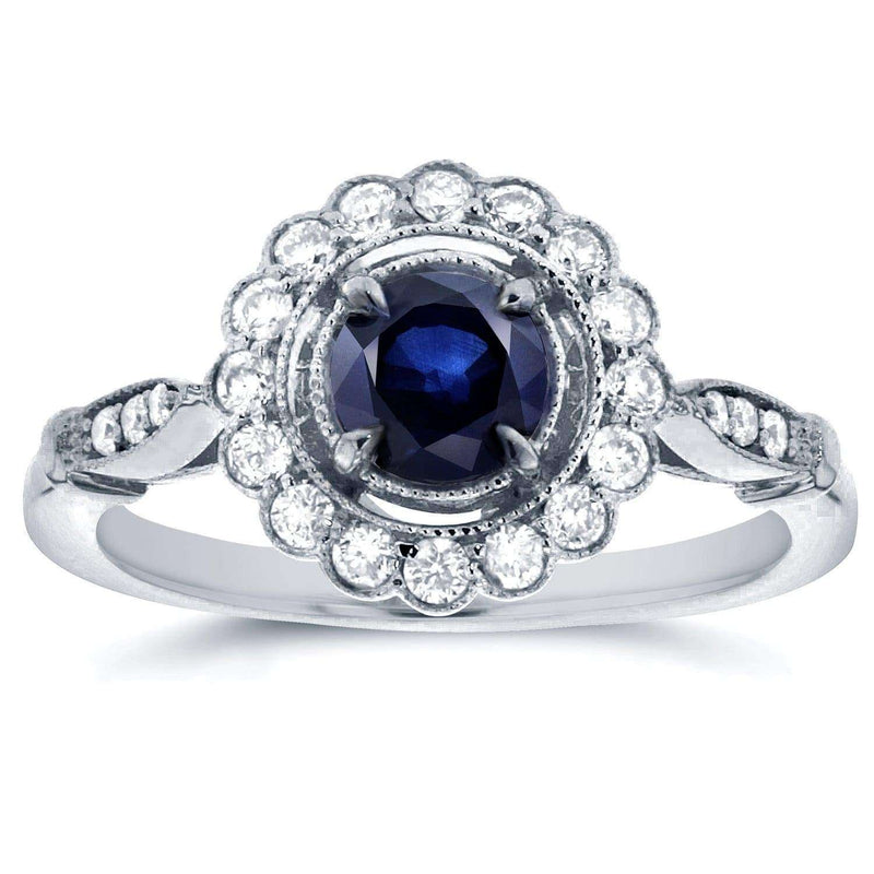Kobelli Antique Floral Sapphire and Diamond Engagement Ring 4/5 Carat (ctw) in 14k White Gold