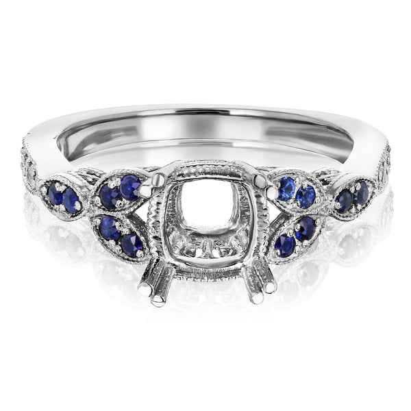 Floral Vintage Blue Accent Semi Mount Engagement Ring Kobelli