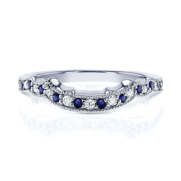 Kobelli 1/5ct TCW Sapphire and Diamond Contour Wedding Ring in 14k White Gold
