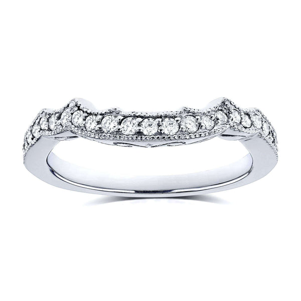 Kobelli 1/5 Carat TDW Diamond Milgrain Contour Wedding Ring in 14k White Gold