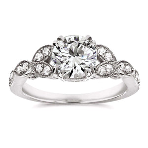 Kobelli Antique Round-Cut Diamond Engagement Ring 1 1/5 CTW in 14K White Gold