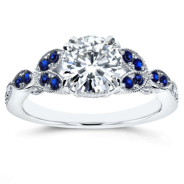 Kobelli Antique Round Diamond and Blue Sapphire Engagement Ring 1 1/5 CTW in 14K White Gold