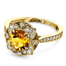 Kobelli Citrine Lotus Flower Solid 14k Gold Ring 62052RCT-1E/4.5Y