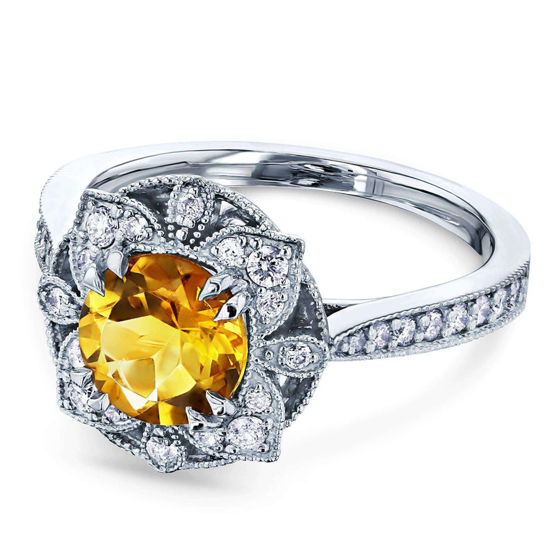 Kobelli Citrine Lotus Flower Solid 14k Gold Ring 62052RCT-1E/4.5W