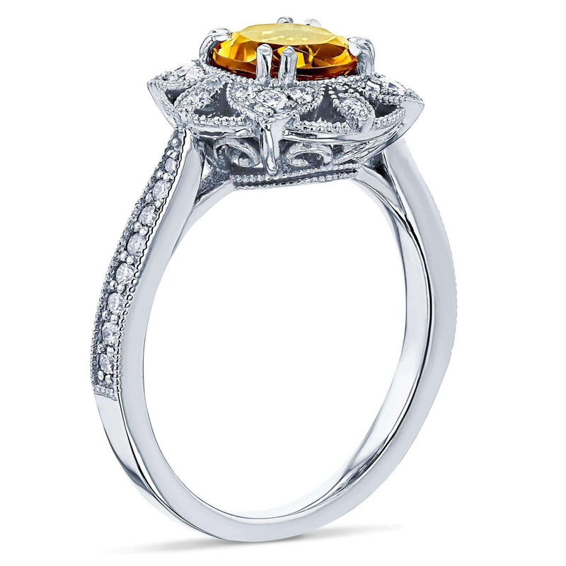 Kobelli Citrine Lotus Flower Solid 14k Gold Ring
