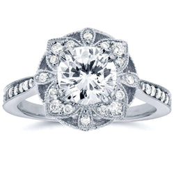 Kobelli Antique Floral Diamond Engagement Ring 1 1/4 CTW in 14k White Gold