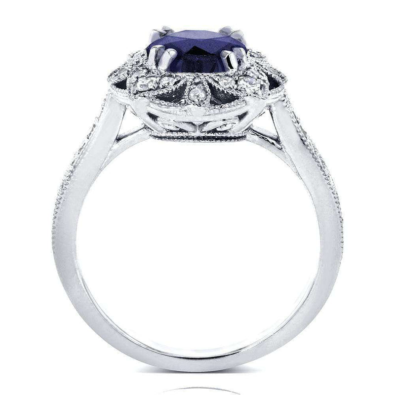Kobelli Antique Floral Sapphire and Diamond Engagement Ring 1 1/2 Carat (ctw) in 14k White Gold