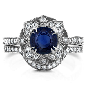 Antique Floral Round Sapphire and Diamond Bridal Set 1 3/4 CTW in 14k White Gold