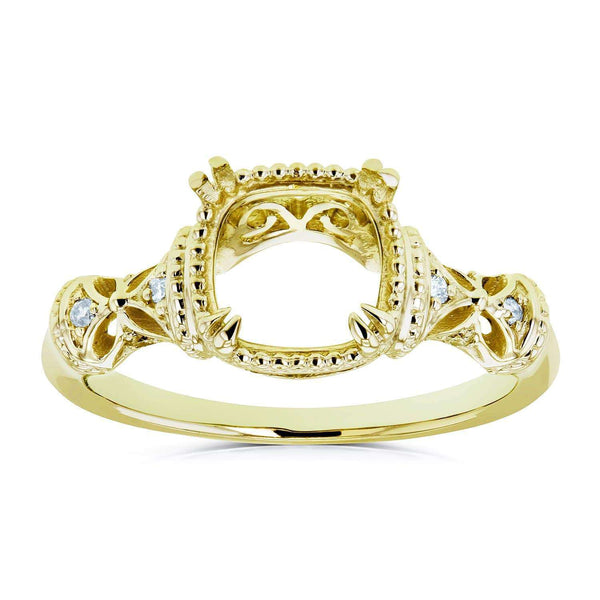 Kobelli Diamond Accented Semi Mount Vintage Engagement Ring, 14k Yellow Gold (No Center Stone)