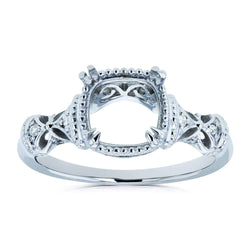 Kobelli Diamond Accented Semi Mount Vintage Engagement Ring, 14k White Gold (No Center Stone)