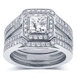 Princess Cut Diamond Halo Bridal Set 1 1/2 CTW in 14k White Gold (3-Piece Set)