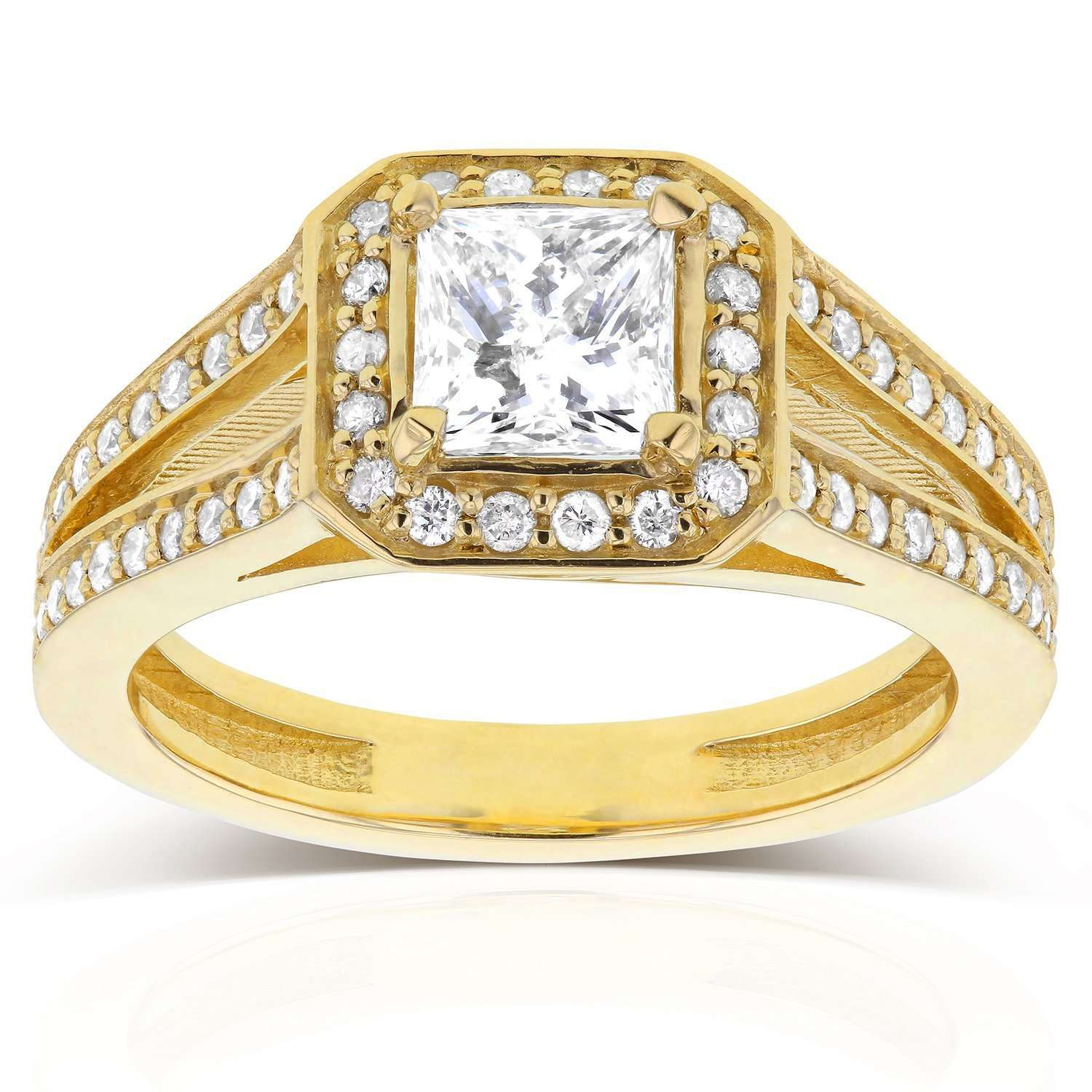Best Princess Cut Diamond Halo Engagement Ring 1 1/8 CTW in 14k Yellow Gold - 7