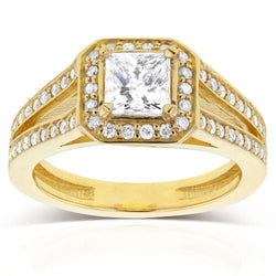 Princess Cut Diamond Halo Engagement Ring 1 1/8 CTW in 14k Yellow Gold