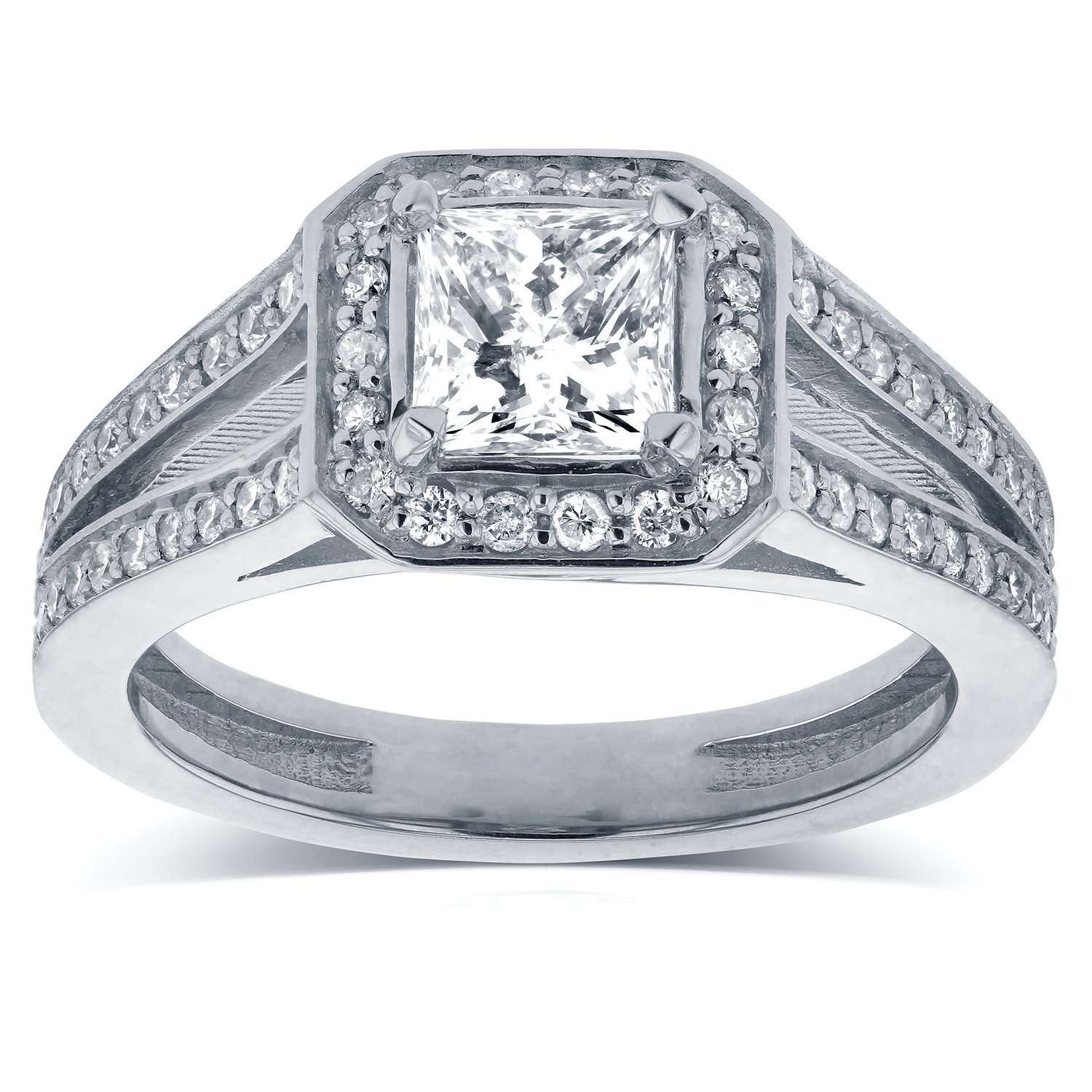 Best Princess Cut Diamond Halo Engagement Ring 1 1/8 CTW in 14k White Gold - 7