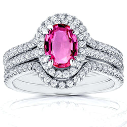 Kobelli Halo Diamond and Oval Pink Sapphire Bridal Set 1 3/4 CTW in 14k White Gold (3 Piece Set)