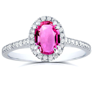 Halo Diamond and Oval Pink Sapphire Ring 1 1/3 CTW in 14k White Gold