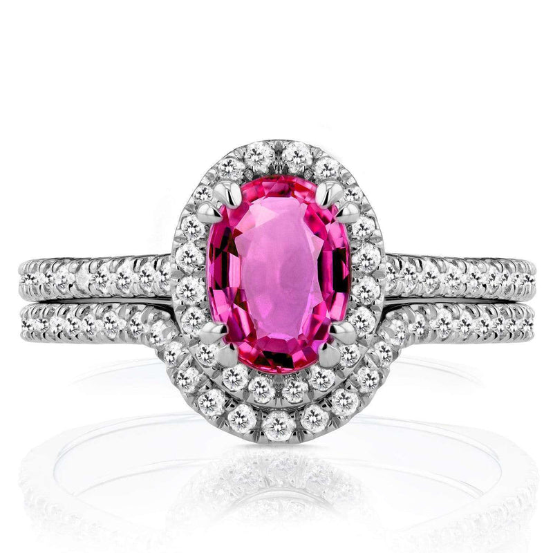 Kobelli Halo Diamond and Oval Pink Sapphire Bridal Set 1 1/2 CTW in 14k White Gold
