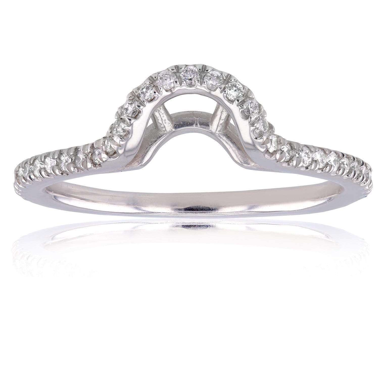 Discounts Oval Contoured Diamond Wedding Band 1/5 CTW in 14k White Gold - 4