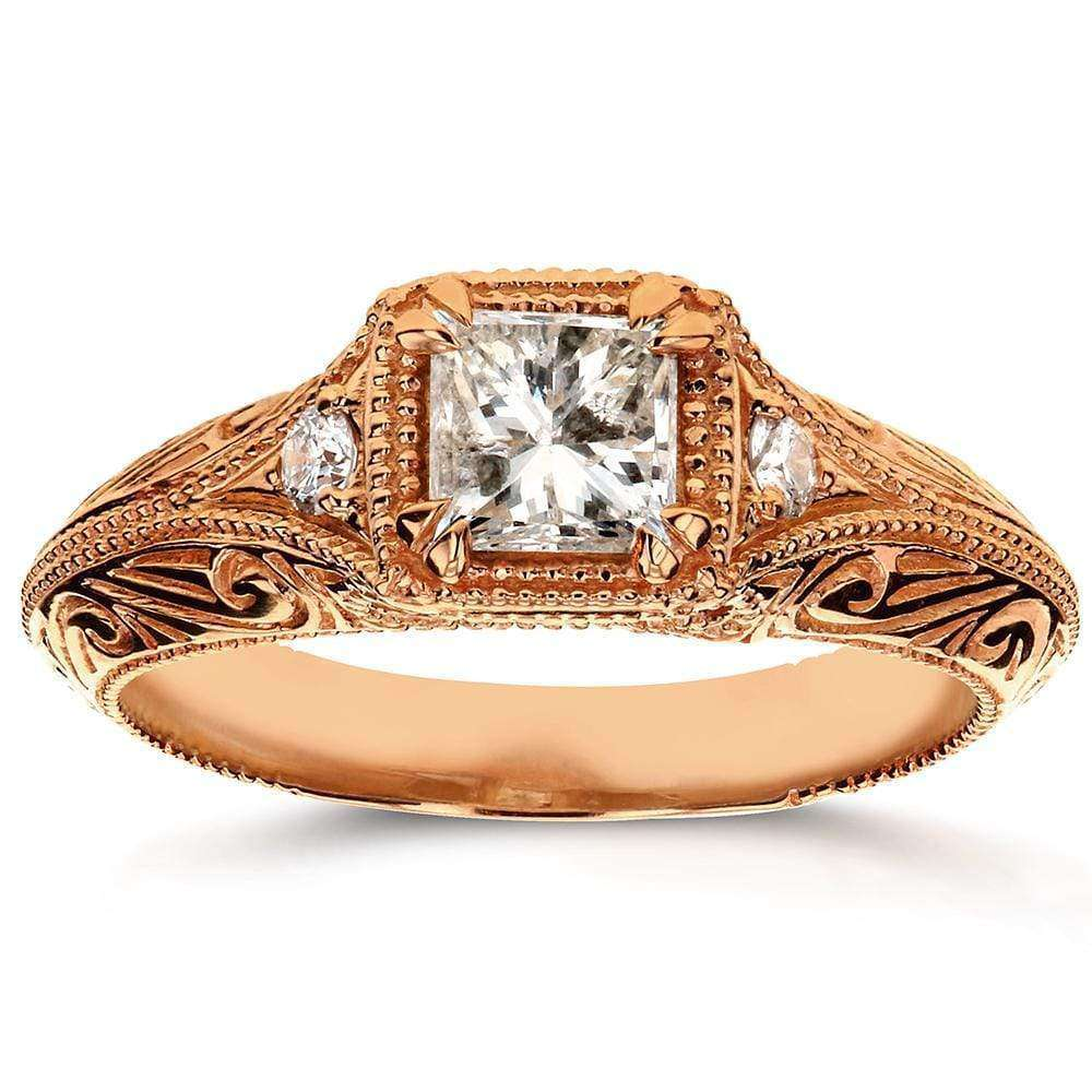 Coupons Diamond Antique Filigree Engagement Ring 5/8 CTW in 14k Rose Gold - 6