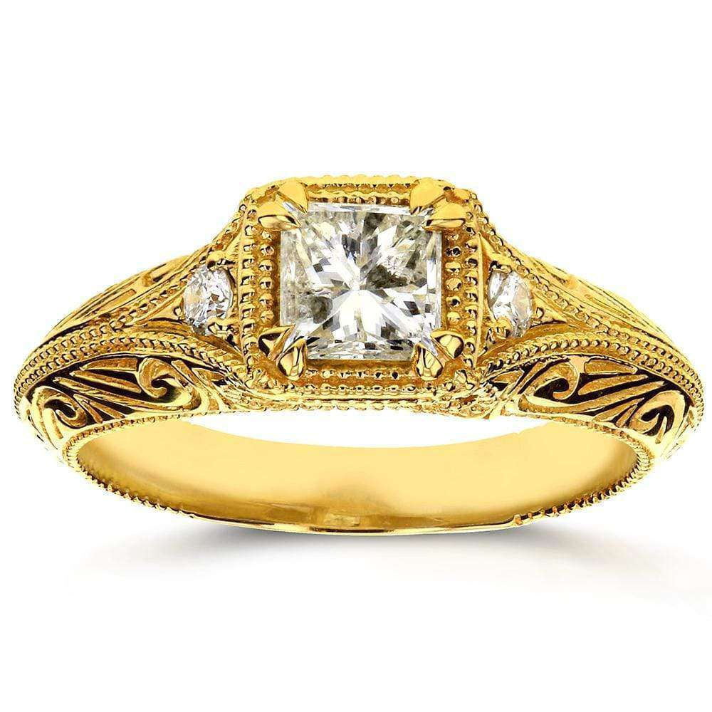 Promos Diamond Antique Filigree Engagement Ring 5/8 CTW in 14k Yellow Gold - 5