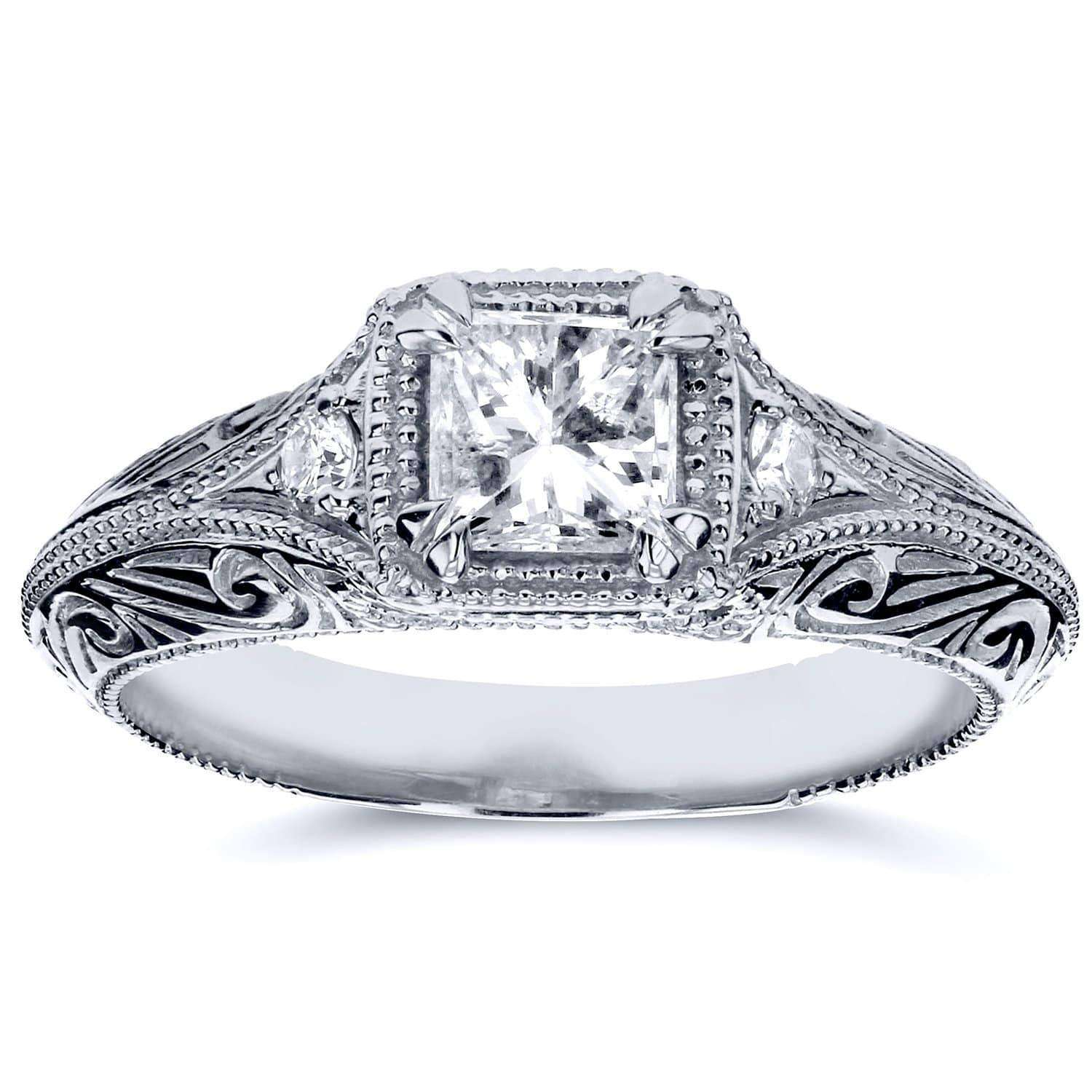 Cheap Diamond Antique Filigree Engagement Ring 5/8 CTW in 14k White Gold - 10