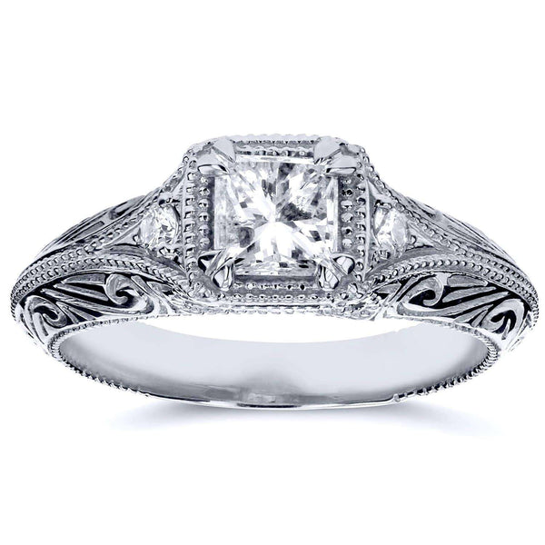 Kobelli Diamond Antique Filigree Engagement Ring 5/8 CTW in 14k White Gold