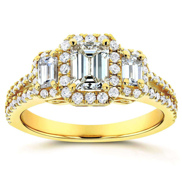 Kobelli Emerald Cut Diamond 3-Stone Halo Engagement Ring 1 1/5 CTW in 14k Yellow Gold