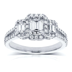 Kobelli Emerald Cut Diamond 3-Stone Halo Engagement Ring 1 1/5 CTW in 14k White Gold