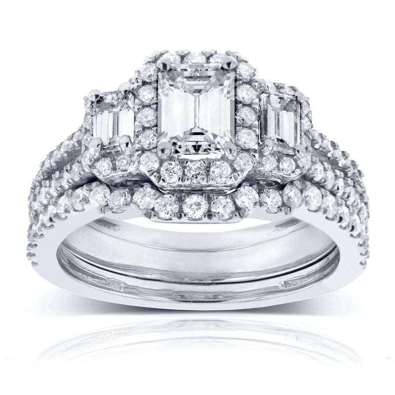 Kobelli Emerald Cut Diamond 3-Stone Halo Wedding Set 1 1/2 CTW in 14k White Gold