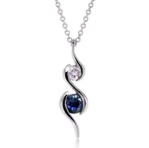 Kobelli Two Stone Sapphire & Diamond Ripple Pendant 1/2 CTW in 14k White Gold 62062BS