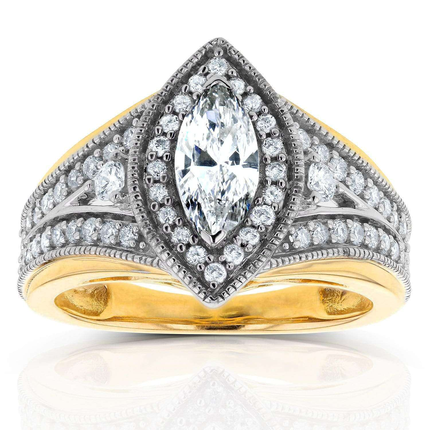 Top Art Deco Marquise Diamond  Engagement Ring 1 CTW in 14k Two-Tone Gold - 9.5