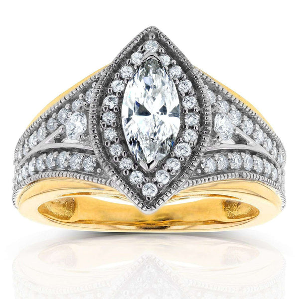 Kobelli Art Deco Marquise Diamond  Engagement Ring 1 CTW in 14k Two-Tone Gold