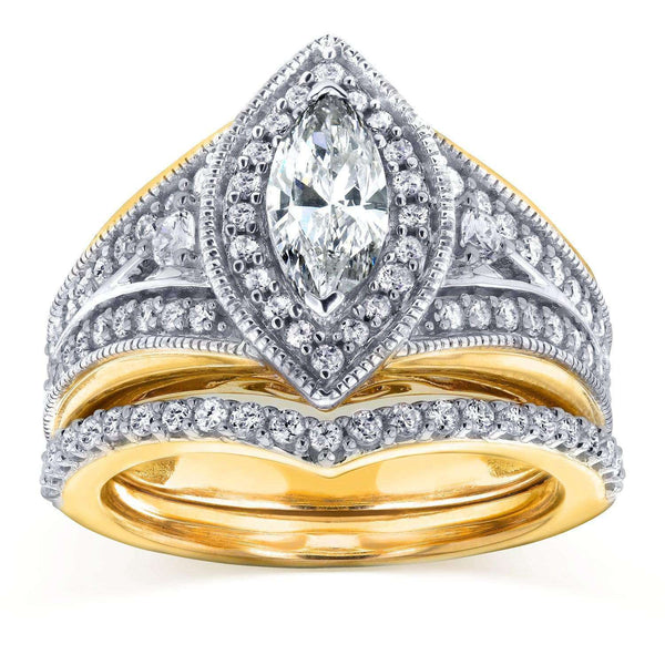 Kobelli Art Deco Marquise Diamond  Bridal Set 1 1/6 CTW in 14k Two-Tone Gold