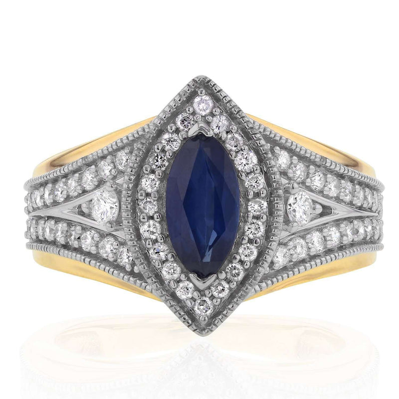 Art Deco Marquise Blue Sapphire and Diamond Ring 1 CTW in 14k Two-Tone Gold