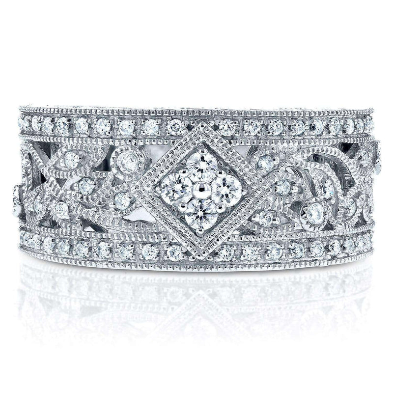 Kobelli Vintage Floral Diamond Band in 14K White Gold