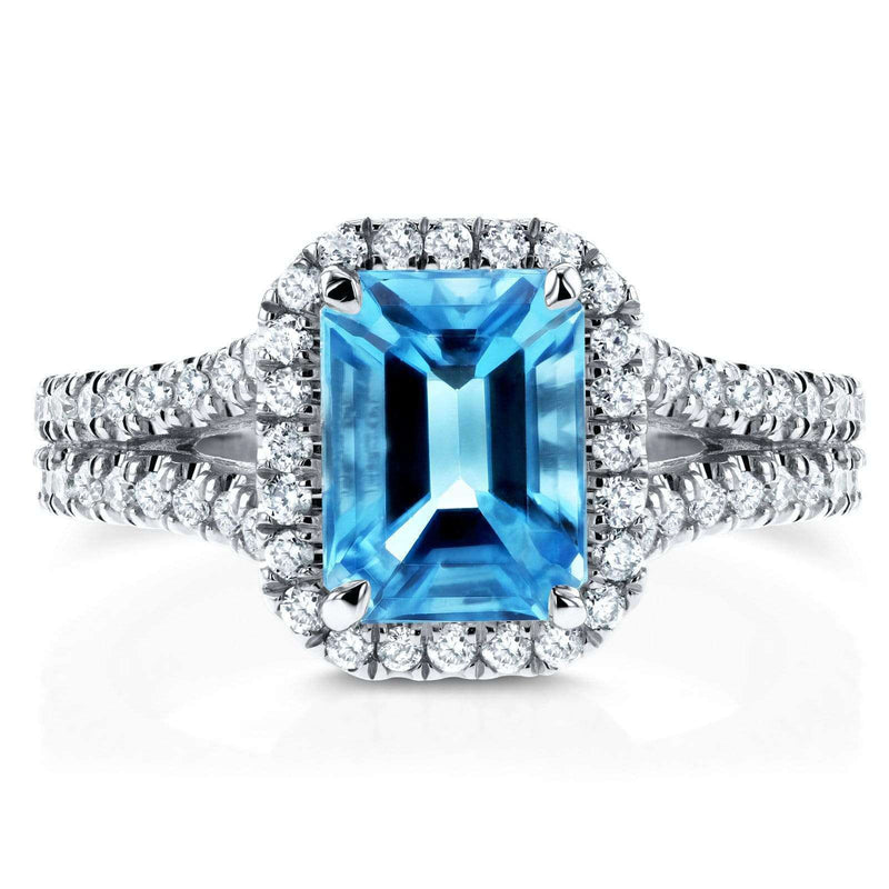Kobelli Emerald Cut Swiss Blue Topaz and Diamond Halo Split Shank Ring 2ct CTW 14k White Gold