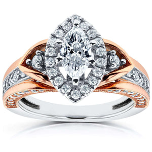 Marquise Diamond Engagement Ring 1 CTW in 14k Two-tone Gold