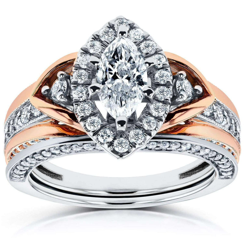 Kobelli Marquise Diamond Bridal Ring Set 1 1/6 CTW in 14k Two-Tone Gold