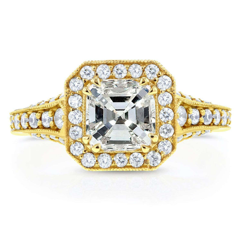 Kobelli Antique Asscher Diamond Engagement Ring 1 3/5 CTW in 14k Yellow Gold