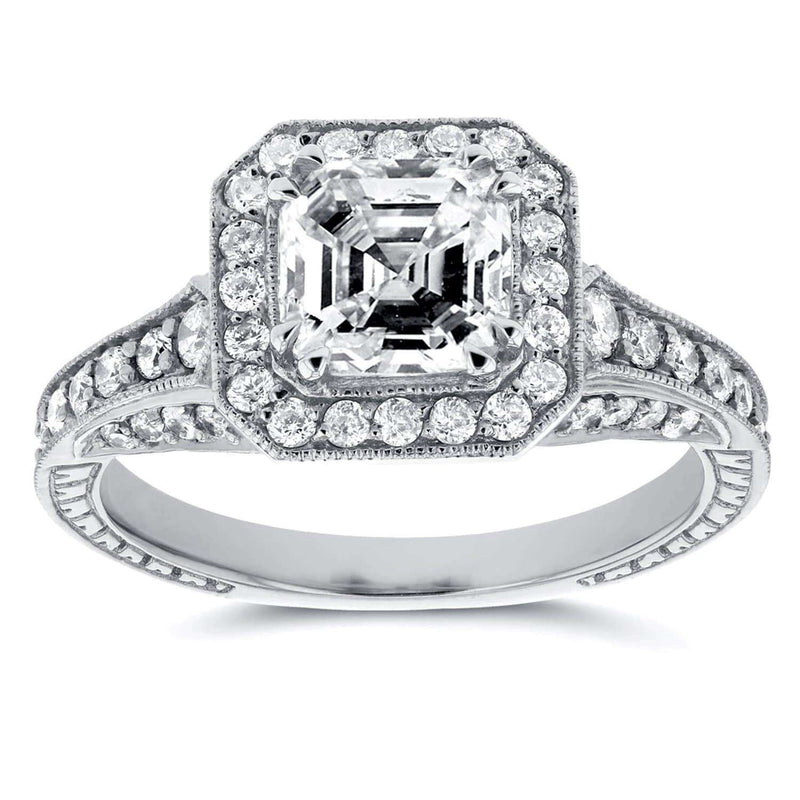 Kobelli Antique Asscher Diamond Engagement Ring 1 3/5 CTW in 14k White Gold