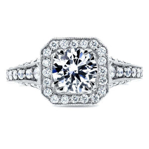 Antique Round Diamond Engagement Ring 1 3/5 CTW in 14k White Gold