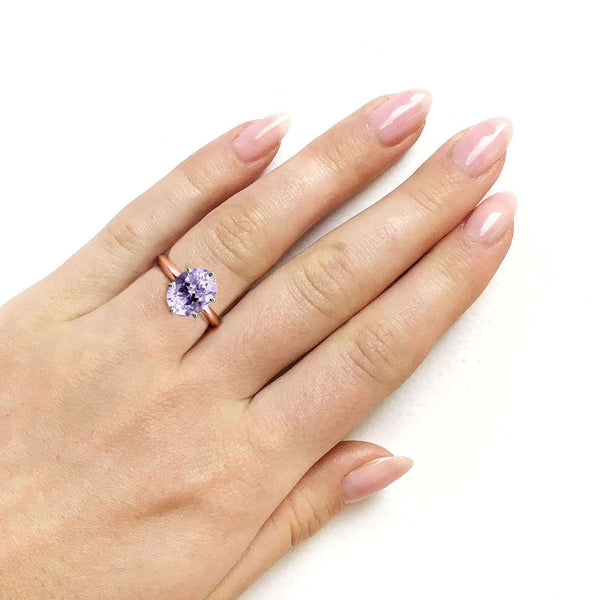 Kobelli Oval Cut Lavender Purple Amethyst Solitaire 6-prong Ring 1 1/2 Carats 14k Rose Gold