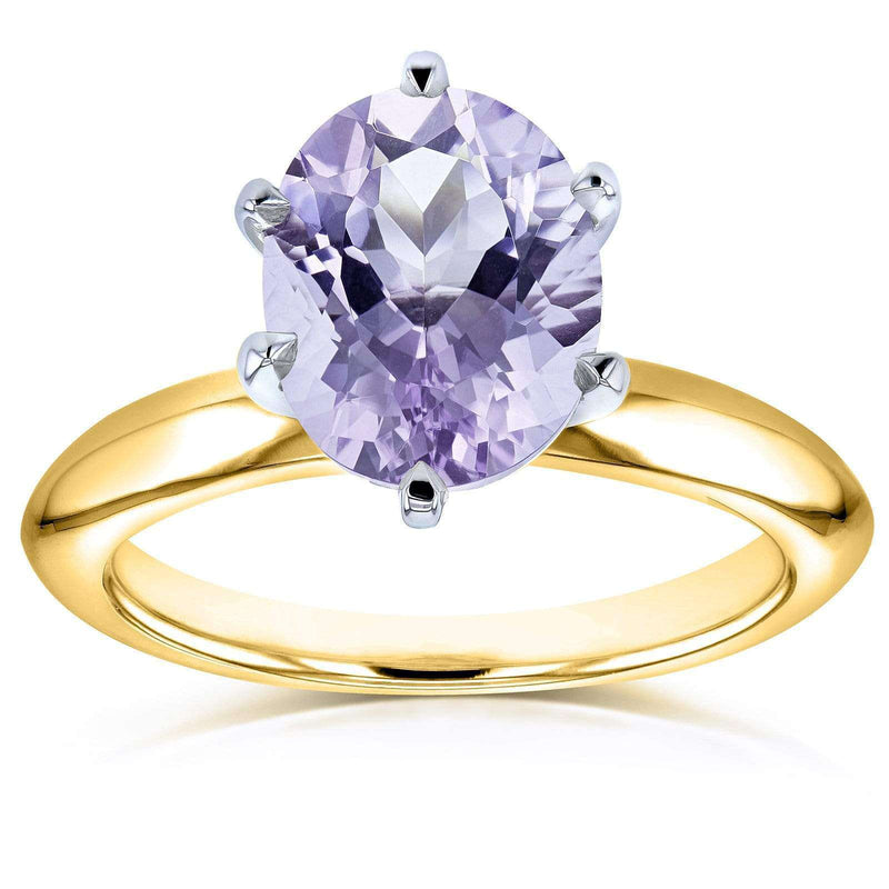 Kobelli Oval Cut Lavender Purple Amethyst Solitaire 6-prong Ring 1 1/2 Carats 14k Yellow Gold