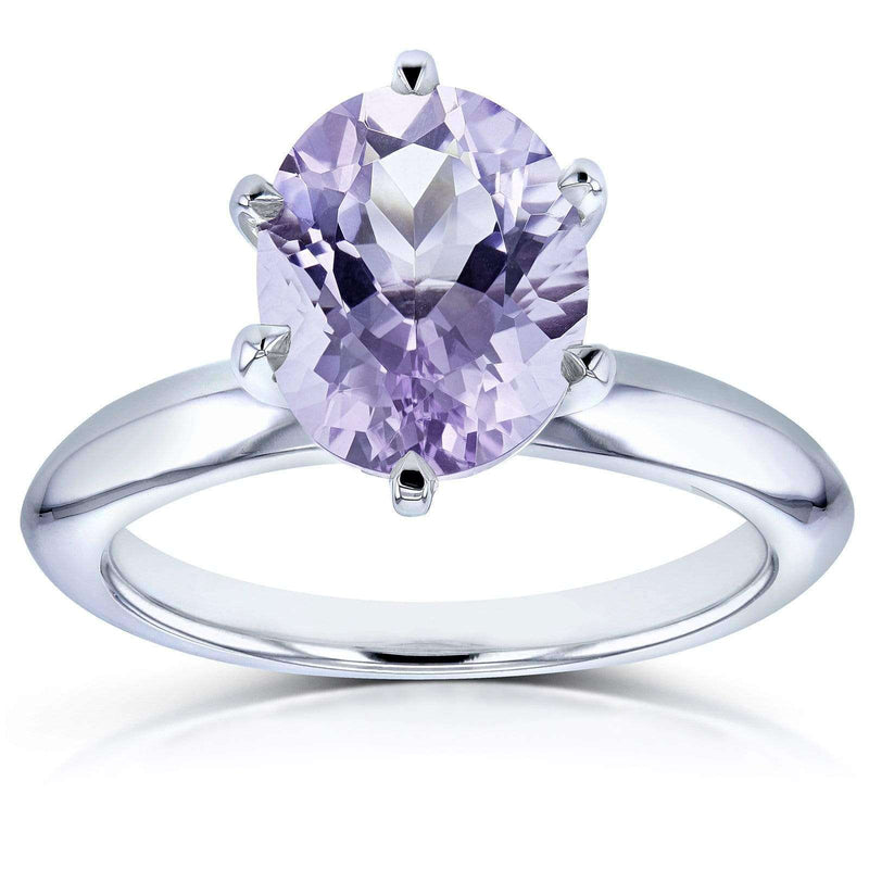 Kobelli Oval Cut Lavender Purple Amethyst Solitaire 6-prong Ring 1 1/2 Carats 14k White Gold